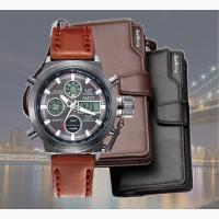 Стильное портмоне Baellerry Business + часы Amst в подарок. До 10 августа