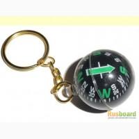 Золотой брелок компас - шар для любителей рыбалки, охоты, туризма и путешествий
