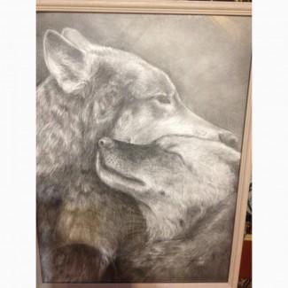 Картина 42см / 32см. Графика. 2 Волка 16 000 руб