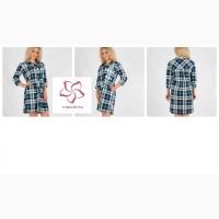 Халат-рубашка в клетку для женщин оптом из Иваново