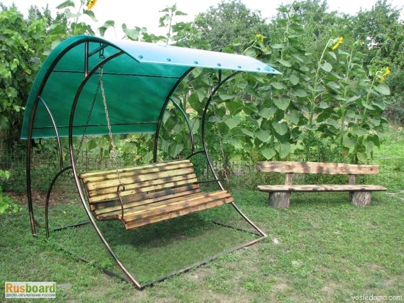 Самодельные садовые качели фото