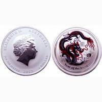 Монета Австралии - цветной дракон