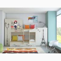 Детская двухъярусная кровать «Лео Принт»