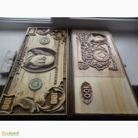 Продам нарды с изображением 100 рублей времен СССР и 100 Долларовой банкноты