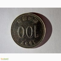 Продам монету 100 вон 1997год перевертыш