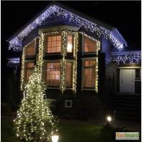 Украшение фасадов светодиодными гирляндами. Новогодняя подсветка