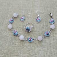 Браслет, серьги и кольцо из ростовской финифти и розового кварца