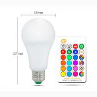 Светодиодная лампа RGB с ИК-пультом, dimmer, E27