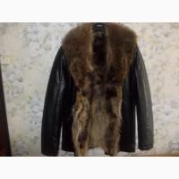 Кожаная куртка с мехом волка Италия Новая