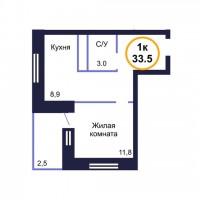 Одновкомнатная кавартира в новостройке Тюмени