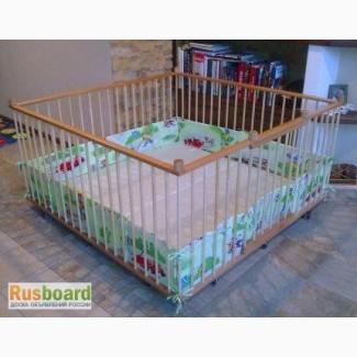 Большой детский деревянный манеж 1, 6х1, 6м с калиткой