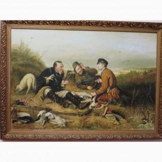 Картина(репродукция)Охотники на привале