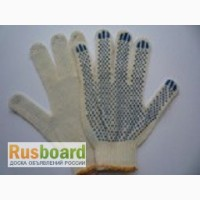 Перчатки хб с ПВХ, 3 нити 7,5-8 класс