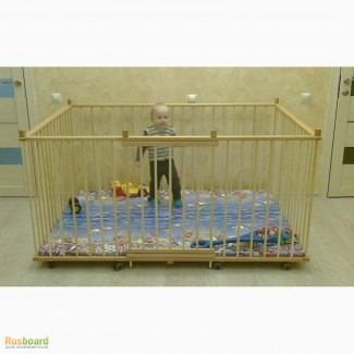 Манеж детский деревянный 1.3х1.8м с высокими стенками 80см
