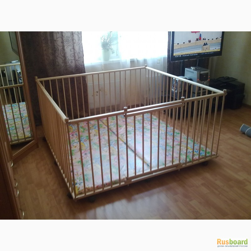 Фото 2. Большой детский деревянный манеж 1, 5х1, 5м с калиткой